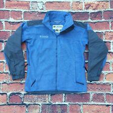 Columbia Tech Womens Fleece Sweater Jumper Full Zip Baby Blue Black Small 10 VGC