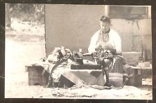 Mint RPPC Real Picture Postcard Native American Indian Women Making Jewelry