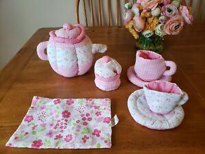 Lillian Vernon 7 Piece Soft Toy Fabric tea Set Cloth Plush Pink Floral/Gingham