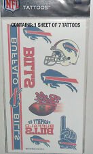 NFL BUFFALO BILLS TEMPORARY TATTOOS 1 SHEET 7 TATTOOS FAST FREE SHIPPING