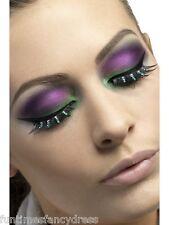 Halloween Medusa Witches Black Eyelashes Lashes With Green Diamantes Fancy Dress