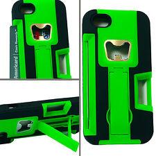 For Apple iPhone 5 5S SE KICKSTAND Case Bottle Opener Card Holder Green Black
