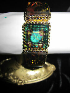 BETSEY JOHNSON RARE  LUCITE LEOPARD AND TEAL PLAID ROCKABILLY STRETCH   BRACELET