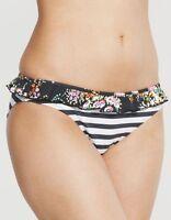 Pureda Milly Stripe Classic Bikini Brief Black White Floral Frill Size S NEW