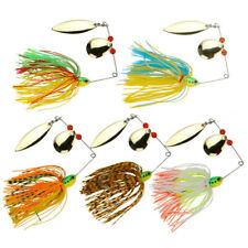 5pcs Spinnerbaits Lure Metal Spoon Jig Head Blade Skirt Fishing Lures Bass Pike