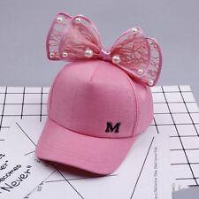 Children Baseball Cap Girls Snapback Hip Hop Caps Ear Pearl Big Bow Kids Sun Hat