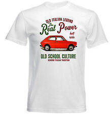 VINTAGE ITALIAN CAR FIAT 127 Real Power-Nuova T-shirt di cotone