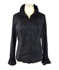 NWT UNITED COLORS OF BENETTON Black Ruffle Long Sleeve Shirt Top Blouse Sz L