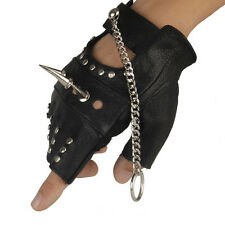 Mens Leather Rivet Long Nails Half Finger Gloves With Chain Driving Fashion