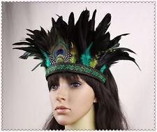 Hippie Peacock Feather Samba Headdress Carnival Fancy Dress Headband Masquerade