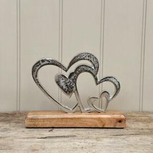 Metal Multi Heart Ornament on Block, Brand New, 16cms Wedding Birthday Love