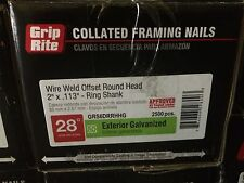 "Grip Rite 2"" X .113"" 6D Ring Shank Galvanized 28° Clipped Wire Nails 5000"