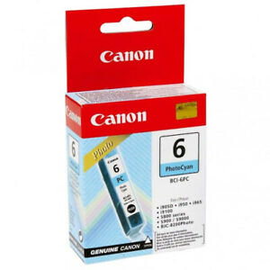 GENUINE AUTHENTIC CANON 6 PHOTO CYAN BCI-6PC INK CARTRIDGE