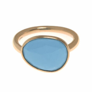 Mimi Milano Talita 18k Rose Gold And Turquoise Ring Sz 7 A327R819