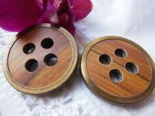 duo gros boutons anciens imitation bois pourtour alliage  3,4 vintage R 272