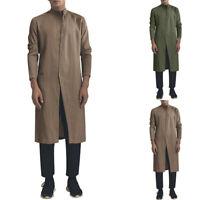 Mens Button Down Shirts Indian Dress Cotton Formal Shirt Kurta Tops Blouse Tee
