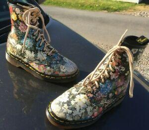 Vintage Dr Martens 1460 multi colour floral boots UK 3 EU 36 Made in England