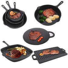 Cast Iron Non-Stick Frying Enamel Pan Grill BBQ Skillet Reversible Griddle Plate