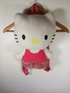 """Sanrio Hello Kitty Plush Backpack Toy Bag Adjustable Straps pink 2013 LARGE 14"""""""