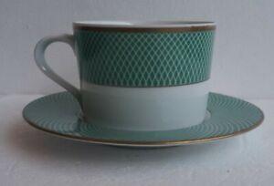 NEW Set of (4) Block Spal Green Fields Tea Cup & Saucer Dinnerware PORTUGAL Set
