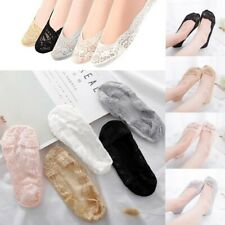 5Pairs Women Ladies Footsies Skin Shoe Liners Invisible Thin Lace Socks Sheer UK
