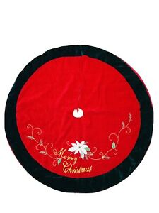 42 In Red Green Velvet Embroidery Poinsettia Merry Christmas Tree Skirt