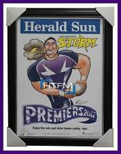 Melbourne Storm 2012 NRL Premiers Herald Sun Print Framed - Billy Slater Smith