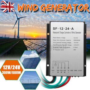 DC 12V/24V 600W Waterproof Wind Turbine Generator Charge Controller Power UK