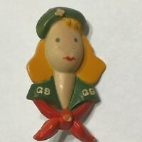 Plastic Girl Scout Figural Pin Brooch Vintage Blond Hair Old History