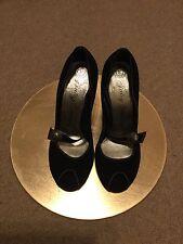 Brand New Juicy Couture Suede Peep Toe heels Size 3 (US 6M) Black