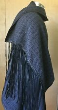 SKINGRAFT unisex wool shawl wrap scarf leather fringe grommets black gray EUC!
