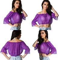 Coqueta beach Off Shoulder Chiffon Top Sleeveless Blouse Flutter purple violet