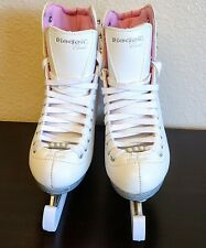 Riedell Womens Girls Model 114 Pearl w/ Luna Blades Size 4 Pink White Ice Skates