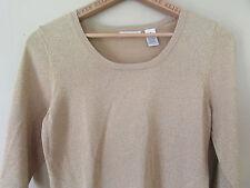 LAURA ASHLEY Size Medium M Gold Sparkly Metallic Knit Scoopneck Top Blouse Shirt