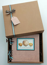 "Holiday Travel Shells 8""x8"" boxed scrapbook album photo memory book personalised"
