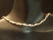 "Pretty 14K  2- tone White and Yellow Gold Fancy Links Modern Necklace 17 "" Long"