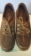 CLARKS Artisan Tona Summit Brown/ dark Olive  Suede Leather Oxfords Womens 9M