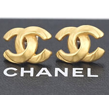 CHANEL CC Logos Stud Earrings Gold Tone 00T w/BOX #2135
