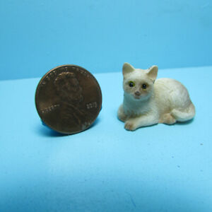 Dollhouse Miniature Small Siamese Cat for a Pet Laying Down  IM65459