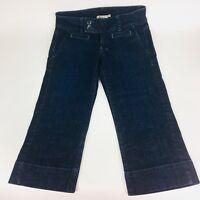 Lucky Brand Women's Capri Crop Jeans Denim Flap Pocket Dark Wash SZ 4 WAIST 27