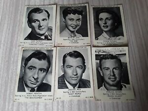 Rare A&BC 6 old chewing gum cards STERLING HAYDEN GREGORY PECK NIGEL PATRICK ETC