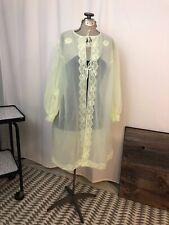 1960s mod robe mint green sheer chiffon pinup babydoll rockabilly M