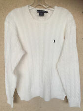 Ralph Lauren White Cotton Cableknit Pullover Sweater Crew Neck Long Sleeves   XL
