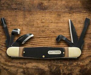 Schrade Old Timer Splinter Pocket Knife 65Mn Steel Tools/Blades Delrin Handle