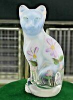 FENTON FRENCH OPAL STYLIZED CAT HAND PAINTED FLOWERS; FENTON FOIL STICKER