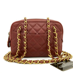 CHANEL Red Quilted Matelasse Lambskin Mini Chain Shoulder Bag /91656