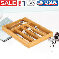 Kitchen Drawer Organizer Expandable Silverware Tray Utensil Wood Cutlery Holder