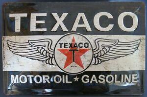 TEXACO MOTOR OIL GASOLINE , BLECHSCHILD 20 x 30 mit PRÄGUNG , NEU
