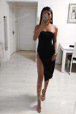 BLACK SATIN BANDEAU THIGH HIGH SPLIT DRESS UK 8/10