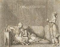 """CHODOWIECKI (1726-1801). Die kaukasische """"Menschen-Varietät""""; Druckgraphik"""